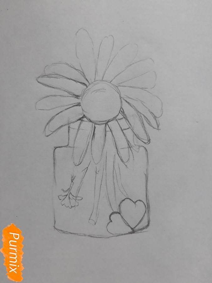 Рисуем ромашку в стеклянной банке - шаг 3
