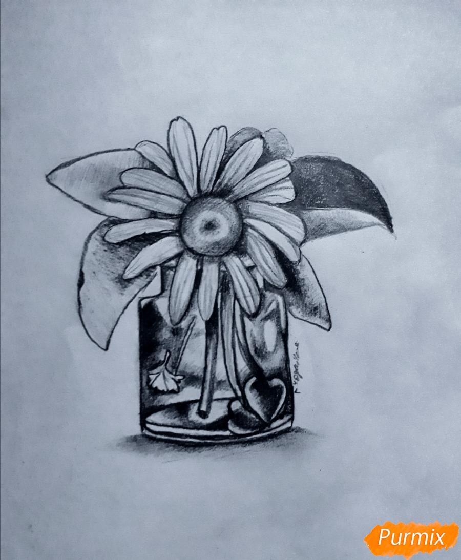 Рисуем ромашку в стеклянной банке - шаг 7