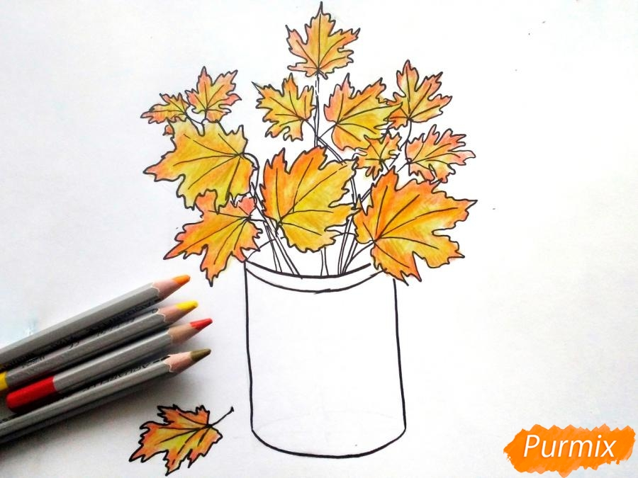Рисуем вазу с осенними листьями - фото 6