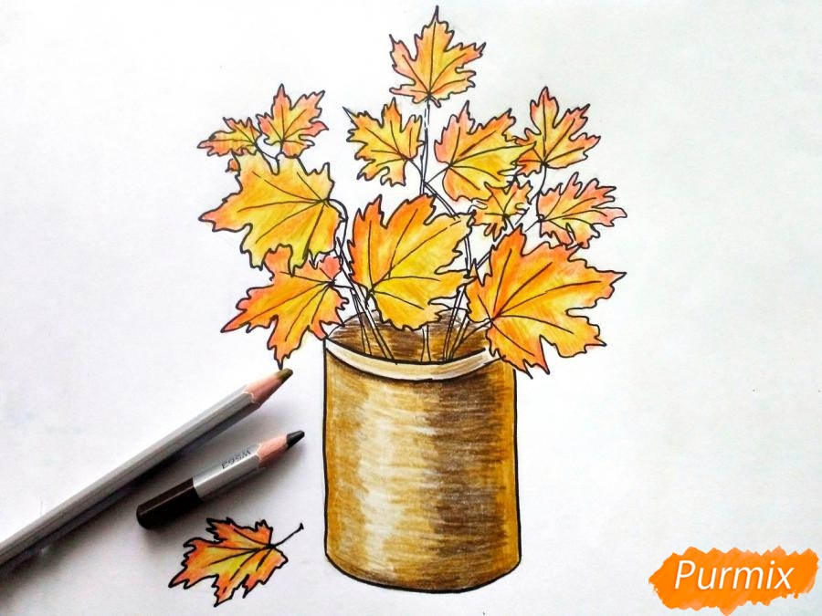 Рисуем вазу с осенними листьями - фото 7