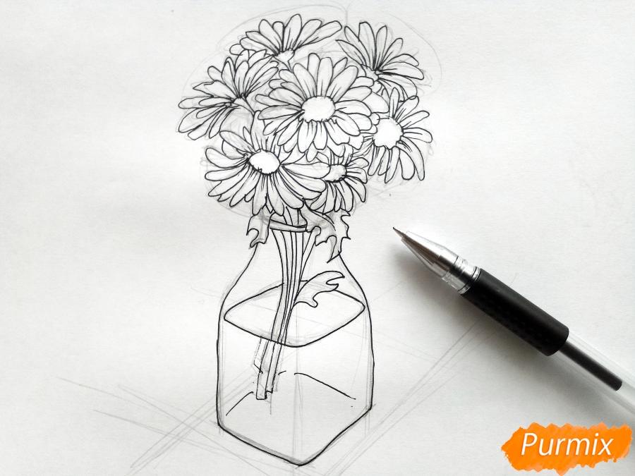 Рисуем вазу с ромашками карандашами - фото 5