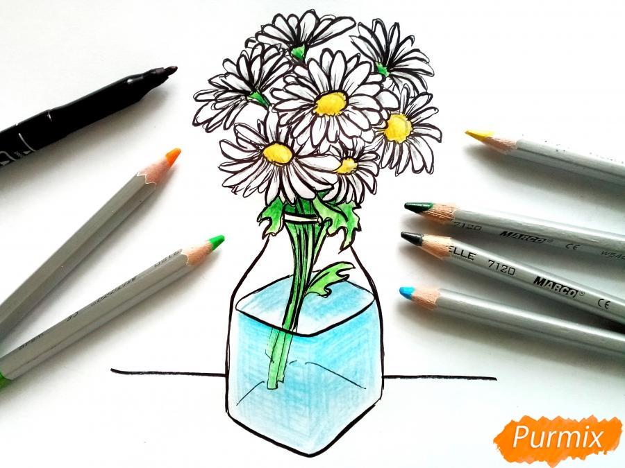 Рисуем вазу с ромашками карандашами - фото 9