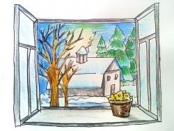 Рисунок вид из окна зимой