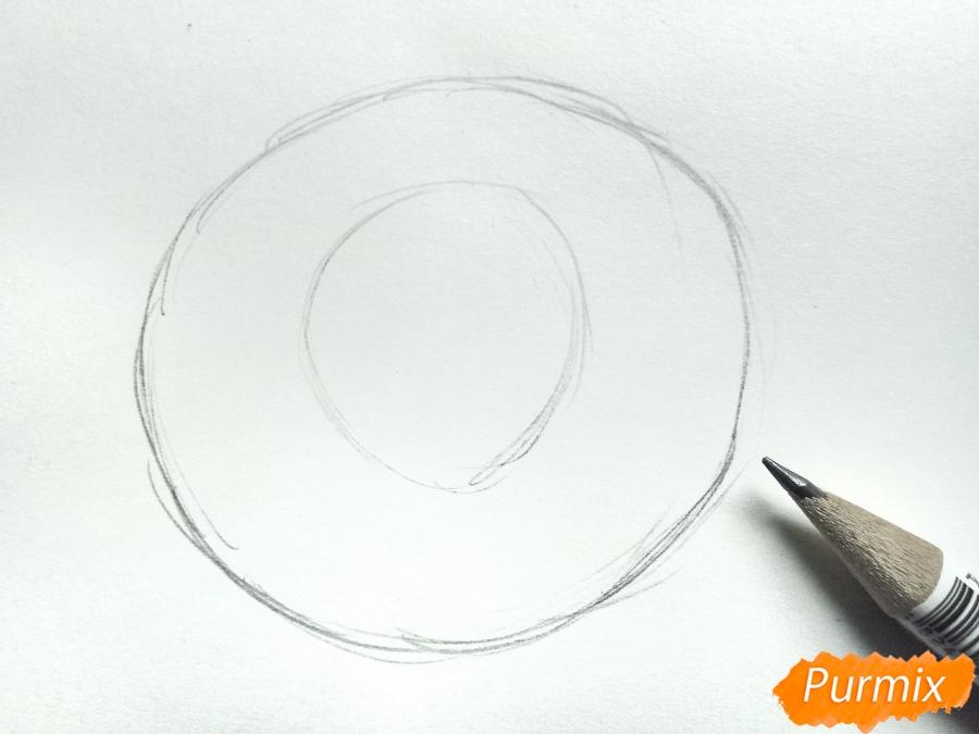 Рисуем водяную лилию карандашами - шаг 1