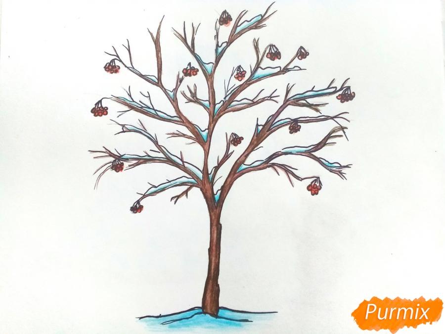 Рисуем зимнее дерево рябины - фото 7