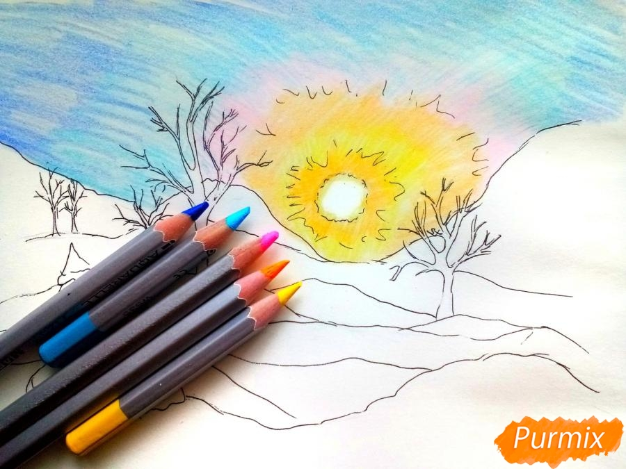 Рисуем зимнее утро, рассвет - фото 5