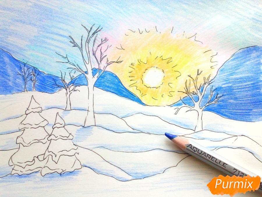 Рисуем зимнее утро, рассвет - фото 6