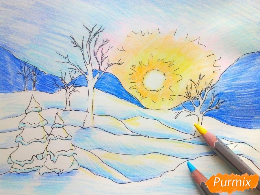 Рисуем зимнее утро, рассвет - фото 7