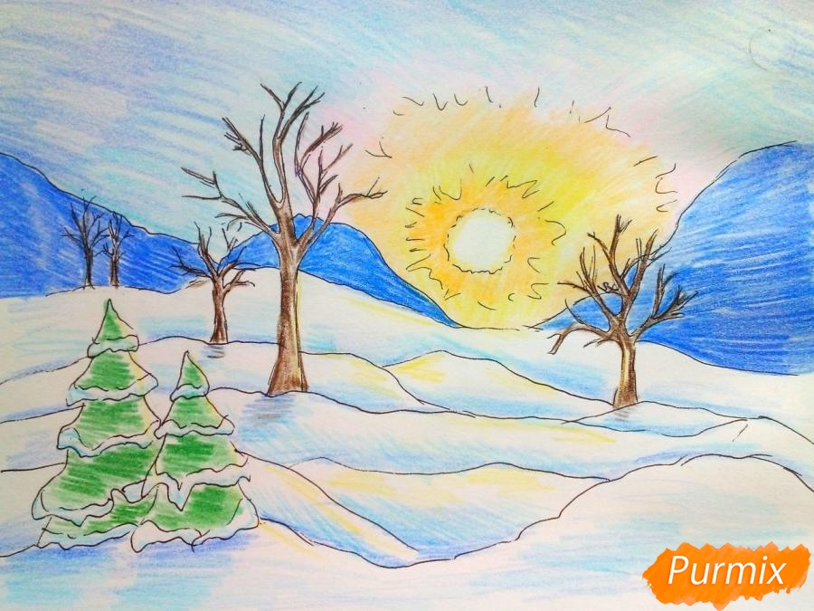 Как нарисовать зимнее утро, рассвет карандашом поэтапно