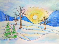 Рисунок зимнее утро, рассвет