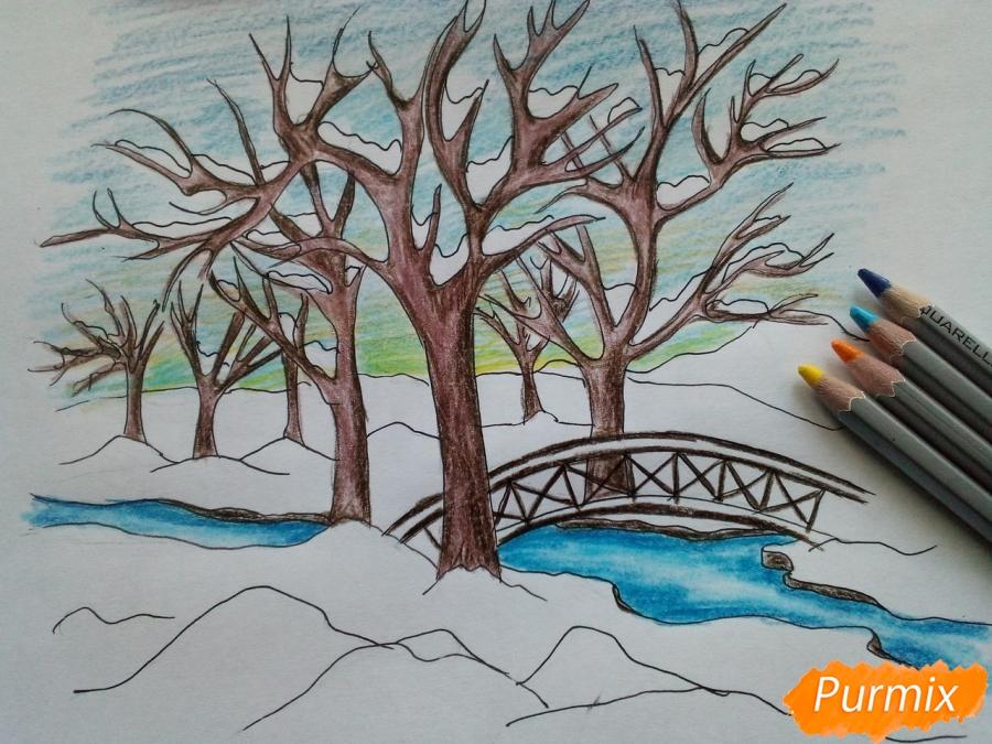 Рисуем зимний парк карандашами - фото 7