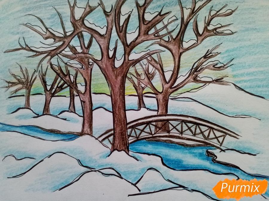 Как нарисовать зимний парк карандашами поэтапно