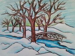 зимний парк карандашом