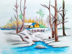 Фото зимний пейзаж карандашом. 6 уроков