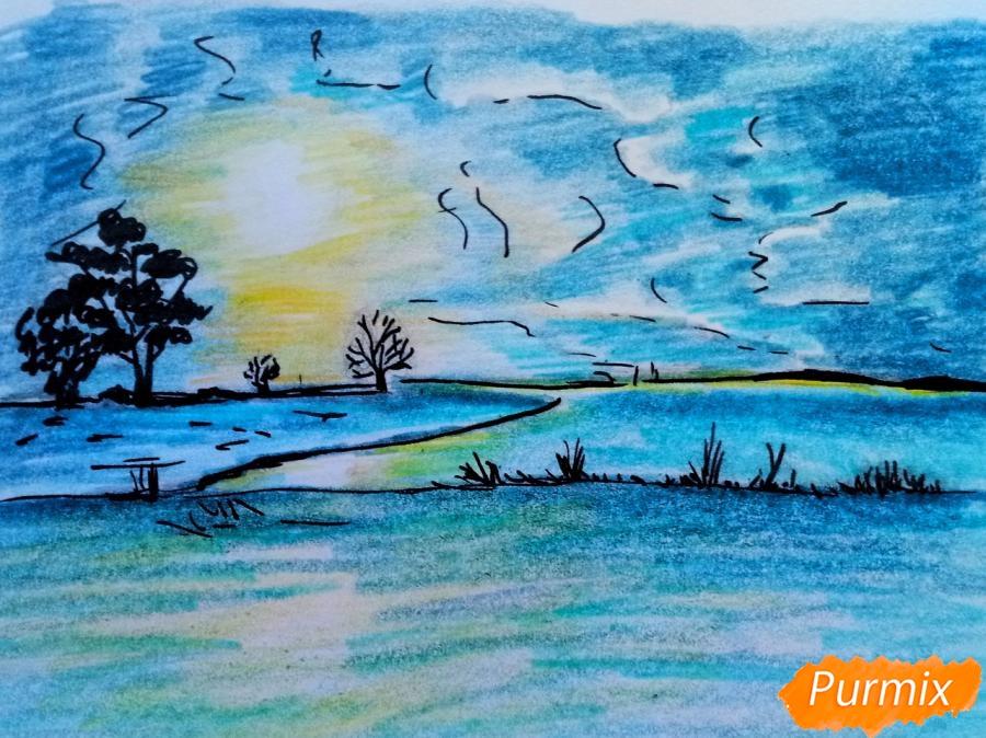 Как нарисовать зимний закат карандашами поэтапно