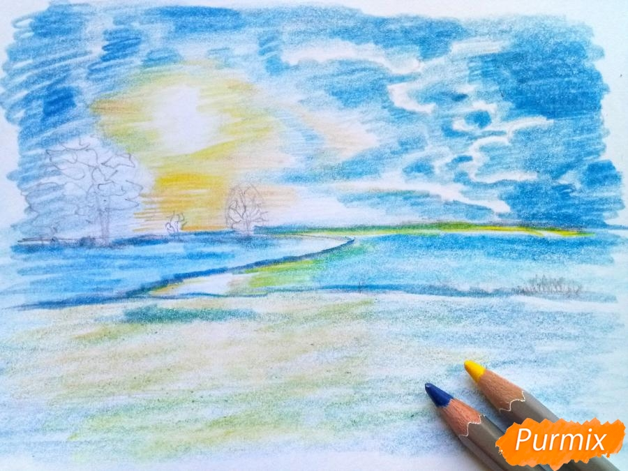 Рисуем зимний закат карандашами - фото 7