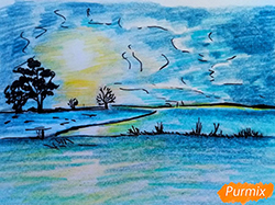 Рисунок зимний закат и рассвет