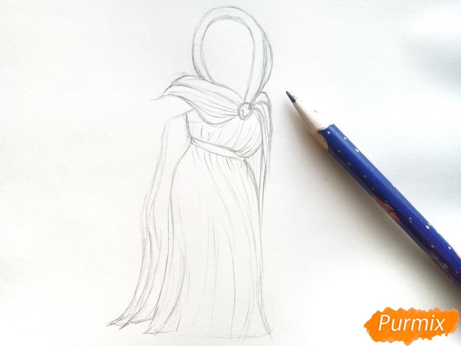 Рисуем зиму в виде девочки - фото 3