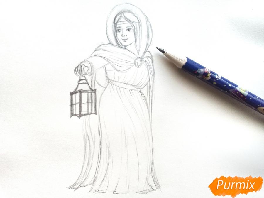 Рисуем зиму в виде девочки - фото 5