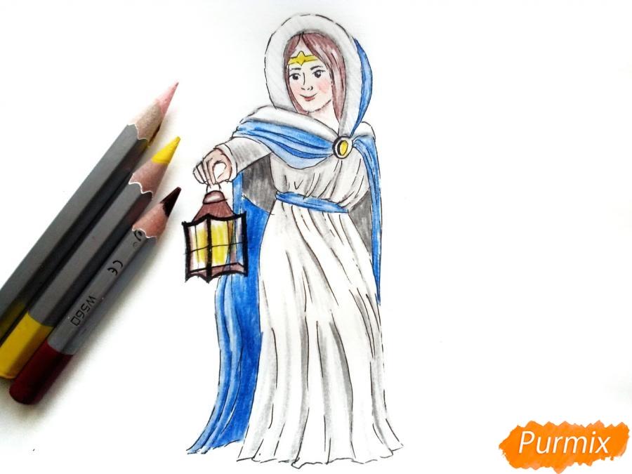 Рисуем зиму в виде девочки - фото 9