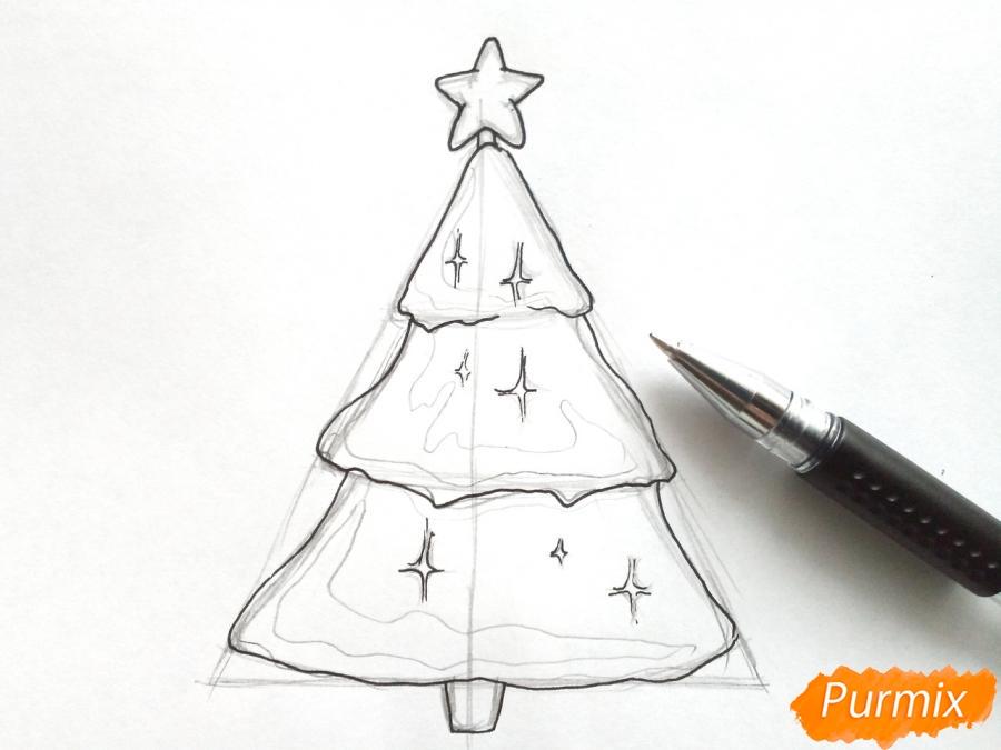 Как просто нарисовать новогоднюю елку для детей - фото 4