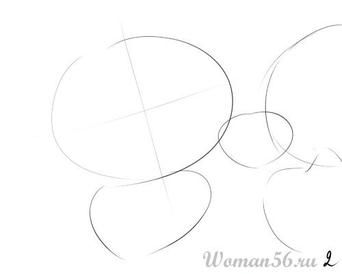 Рисуем цветок лотос - шаг 2