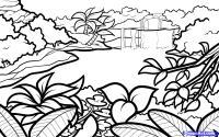 джунгли на бумаге карандашом