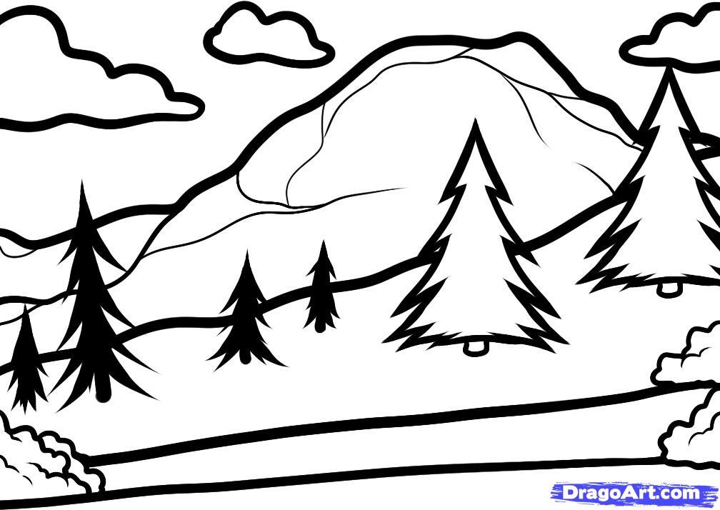 Рисуем горы, зеленую лужайку с елками и голубое озеро
