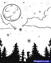 Как нарисовать луну и звёздное небо поэтапно