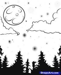 луну и звёздное небо