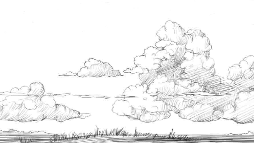 Рисуем облака на небе