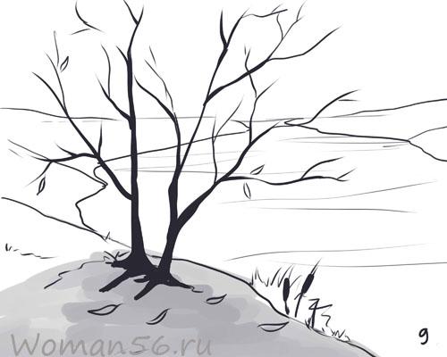 Рисуем осенний пейзаж карандашами - фото 9