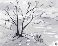 осенний пейзаж карандашом