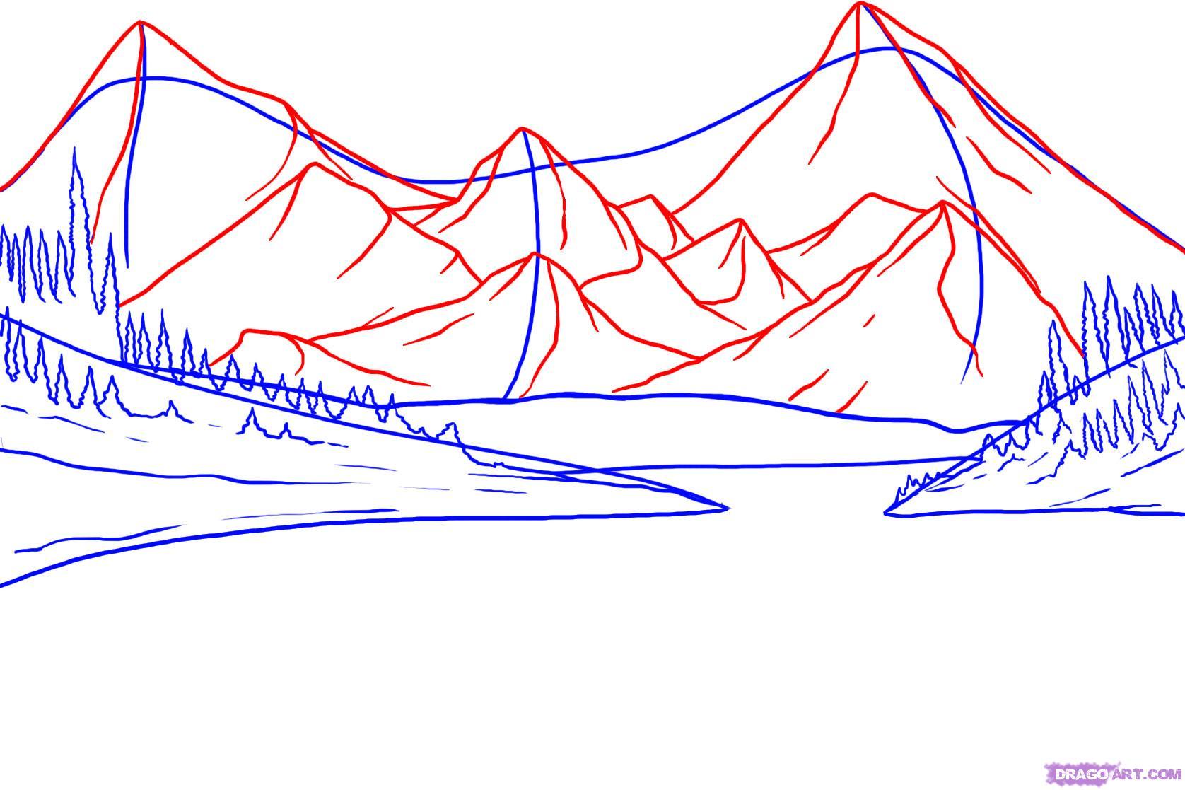 Как нарисовать озера возле гор карандашом поэтапно