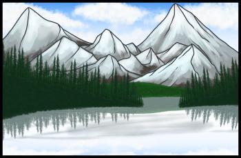 Рисуем озера возле гор