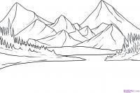озера возле гор карандашом
