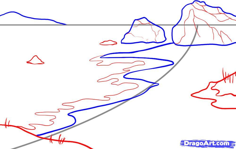 Как нарисовать Песочный пляж и море карандашом поэтапно