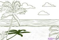 Как нарисовать пляж с пальмой карандашом поэтапно