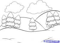 Как нарисовать простой зимний пейзаж карандашом поэтапно