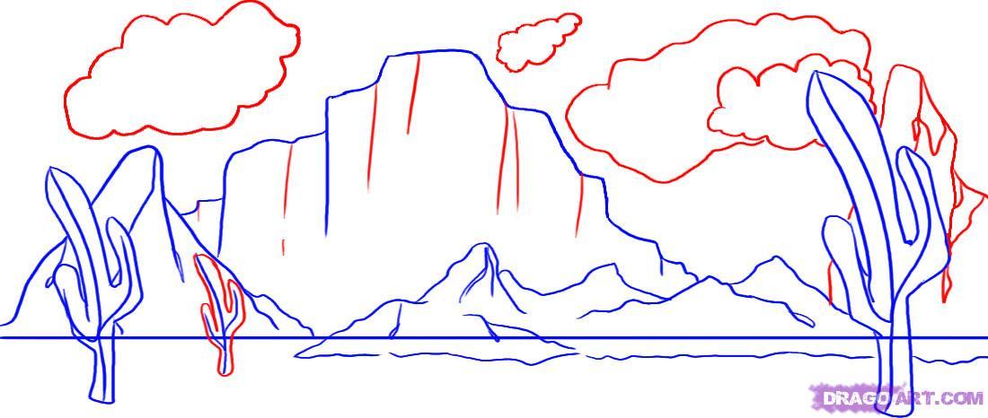 Рисуем пустынный пейзаж