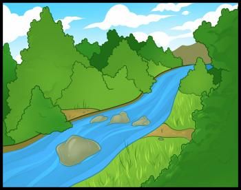 Рисуем Речку, через лес