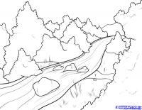 Как нарисовать Речку, через лес карандашом поэтапно