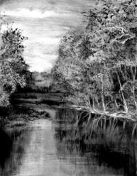 Как нарисовать реку  в лесу карандашом поэтапно