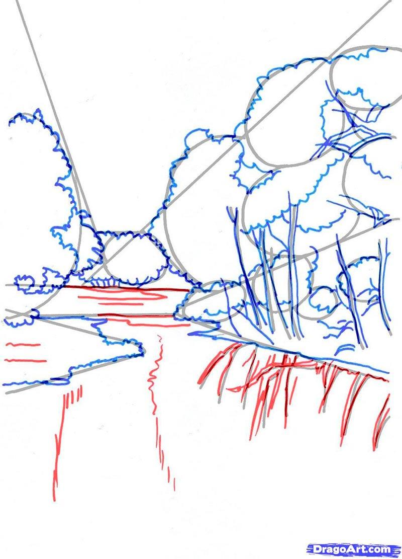 Рисуем реку  в лесу