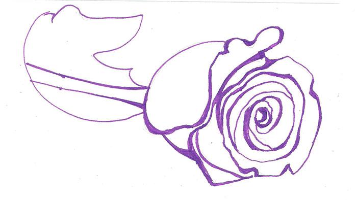 Рисуем лежащую розу ручкой - фото 4
