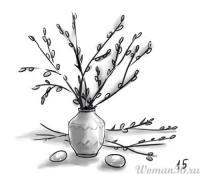 Как нарисовать вербу в вазе карандашом поэтапно