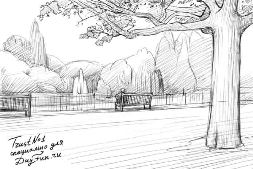 Рисуем зеленый парк