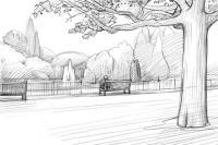 зеленый парк карандашом