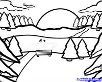 Как нарисовать зимний пейзаж карандашом поэтапно