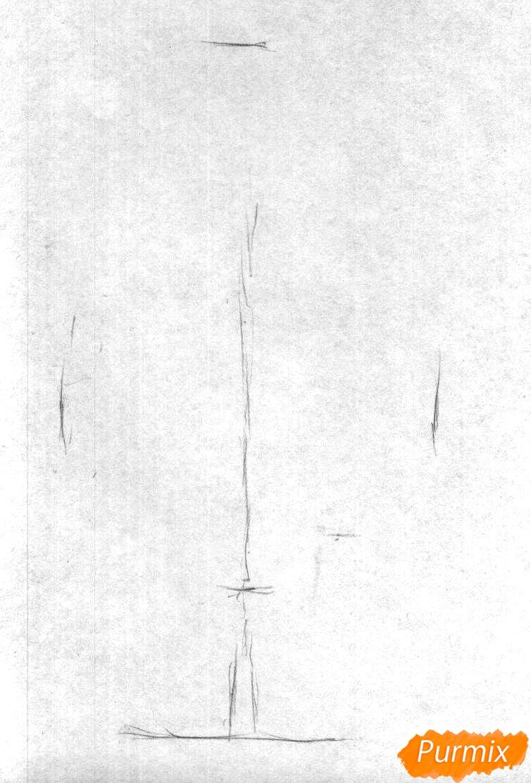 Рисуем березу цветными карандашами - шаг 1